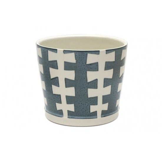 "Blue and white porcelain ""zipper"" jardiniere by Ryan Greenheck. Signed."