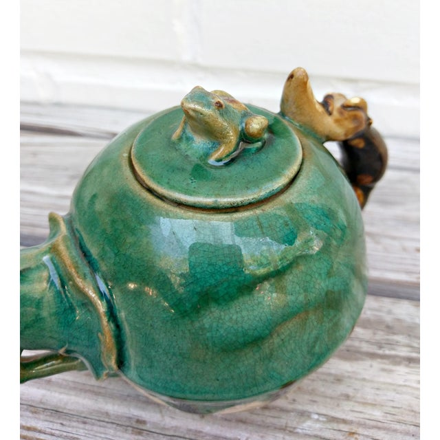 Late 20th Century Handmade Pottery Frog Teapot For Sale - Image 5 of 7