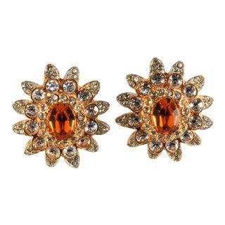 Kenneth Jay Lane Earrings Amber & Clear Rhinestones For Sale
