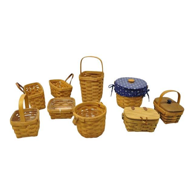Vintage 1990s Longaberger Basket Lot Wine Berry Wall Pocket Lid Round - 9 Pieces For Sale