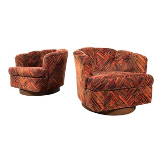 Pair of Milo Baughman Style Swivel Lounge Chairs 1970's