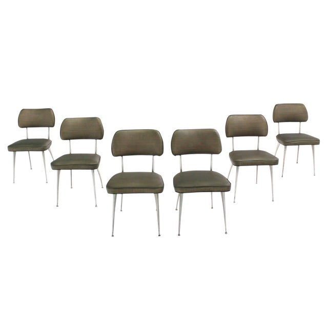 Set of Six Cast Aluminum Dining Chairs For Sale