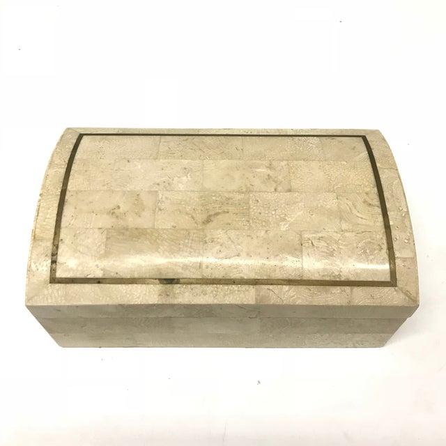Hollywood Regency Maitland-Smith Tesselated Stone Box For Sale - Image 3 of 6