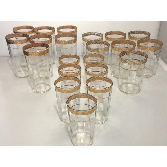 Art Deco Vintage Optic 18k Gold Etched Band Glassware - Set of 21 For Sale - Image 3 of 11