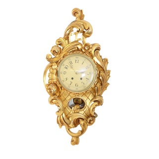 1900s Antique Rococo Style Wall Clock For Sale