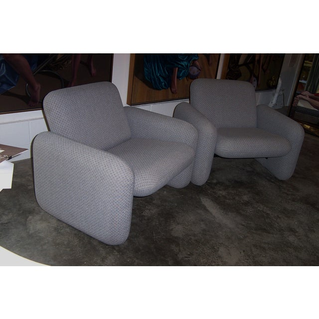 Pair of iconic Chiclet Chairs in a Mid-Century Modern form designed by Ray Wilkes for Herman Miller. Constructed of four...