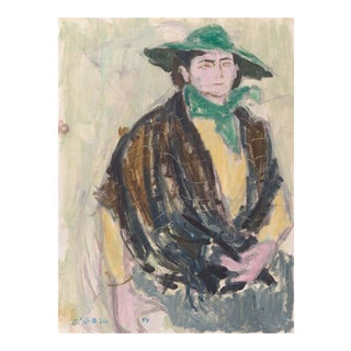 'The Green Hat' by Victor Di Gesu, 1954; Mid-Century California Post-Impressionist, Louvre, Lacma, Académie Chaumière For Sale