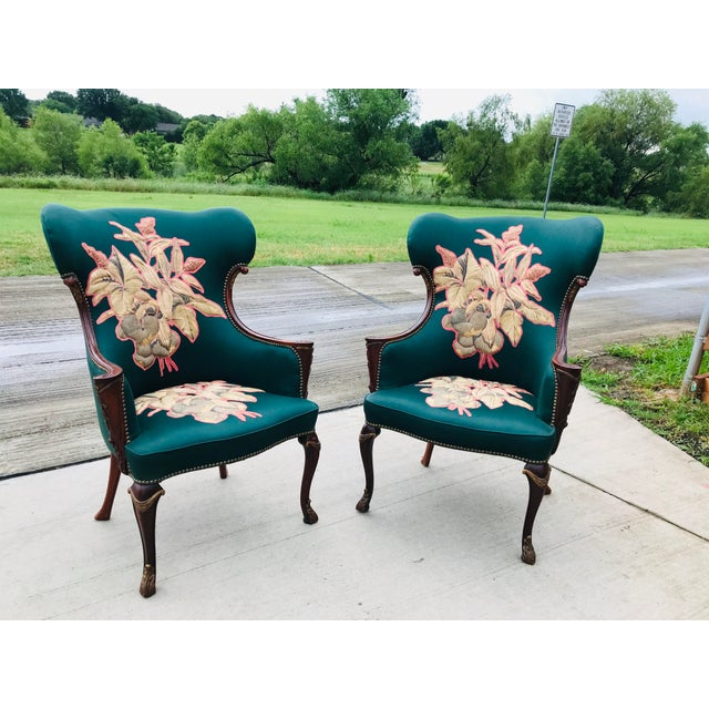 Late 19th Century Carved Mahogany Wingback Chair - a Pair For Sale - Image 4 of 10