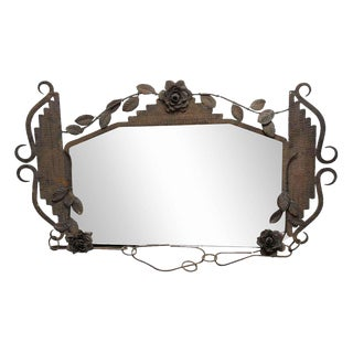 Floral Iron Hanging Mirror For Sale
