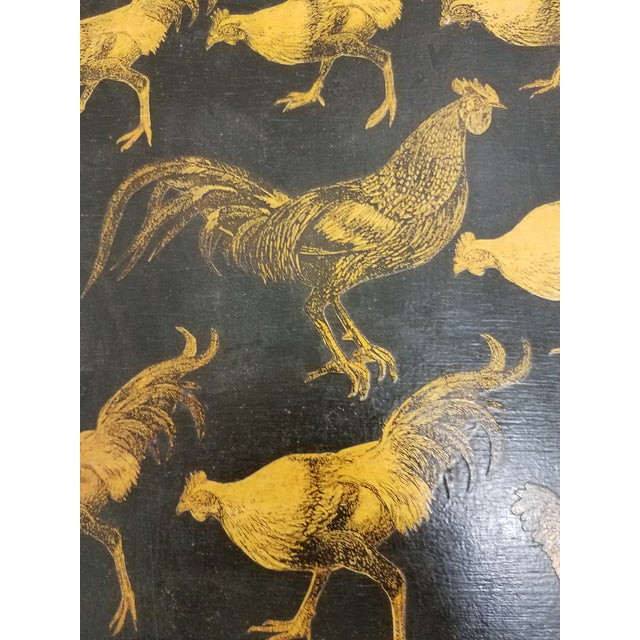 Antique Bamboo Table With Decoupage Roosters For Sale - Image 4 of 8