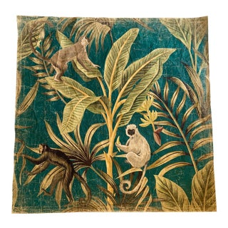 French Green Botanical and Animals Panel For Sale