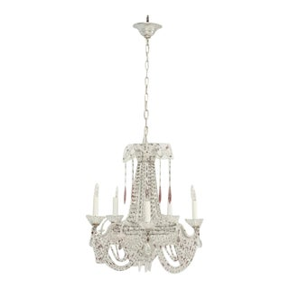 Vintage Italian Beaded Chandelier For Sale