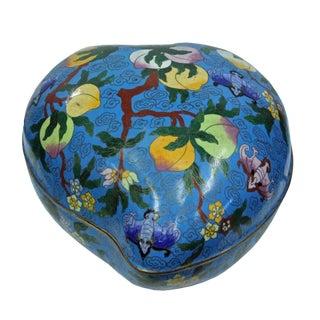 Chinese Turquoise Blue Metal Enamel Cloisonne Heart Peach Shape Box For Sale