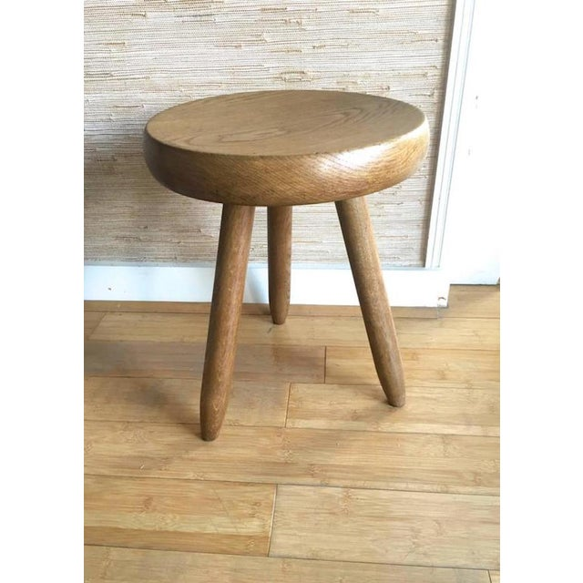 Brown Charlotte Perriand 1950s High Tripod Ash Tree Stool in Vintage Condition For Sale - Image 8 of 8
