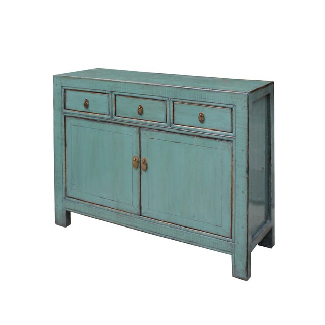 Turquoise Distressed Rustic Teal Gray Credenza Sideboard Buffet Table Cabinet For Sale - Image 8 of 9