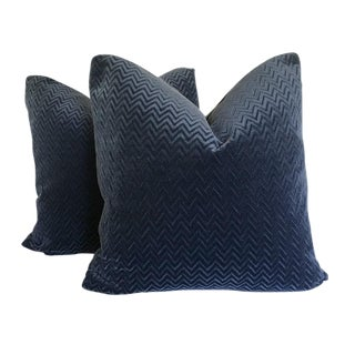 Navy Blue Zig Zag Velvet Pillows - a Pair For Sale