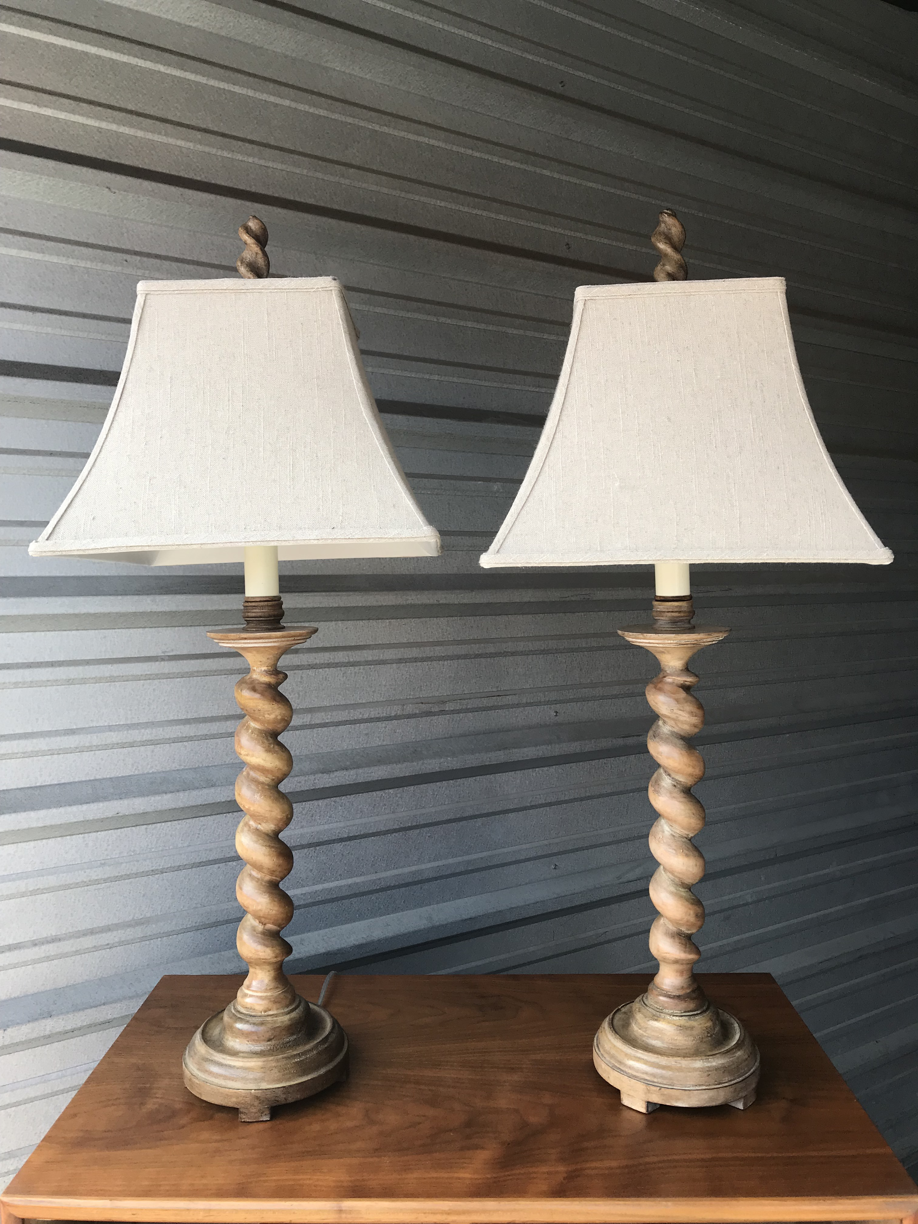 Traditional Ballao Twist Wood Table Lamps A Pair Chairish