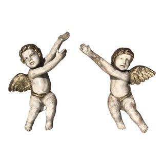 Spanish Colonial Carved Wood Cherubs - a Pair For Sale