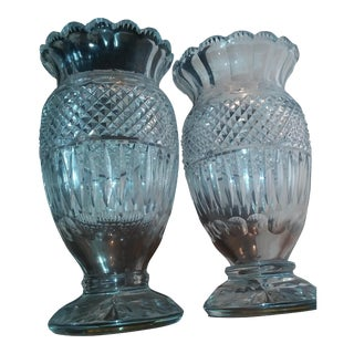 Antique Large Very Rare Waterford Irish Crystal Vases - Pair