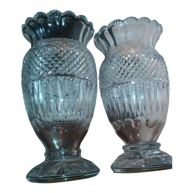 Antique Large Very Rare Waterford Irish Crystal Vases Pair Chairish