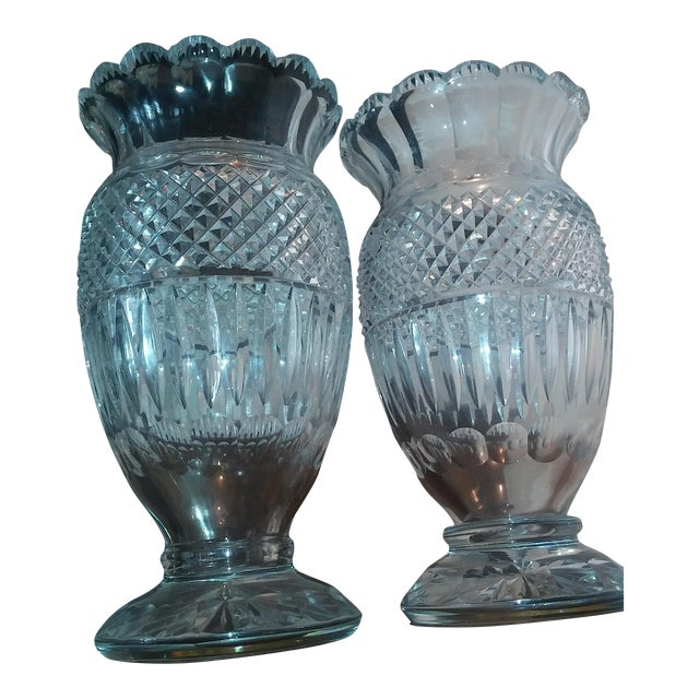 Antique Large Waterford Irish Crystal Vases - 2 For Sale