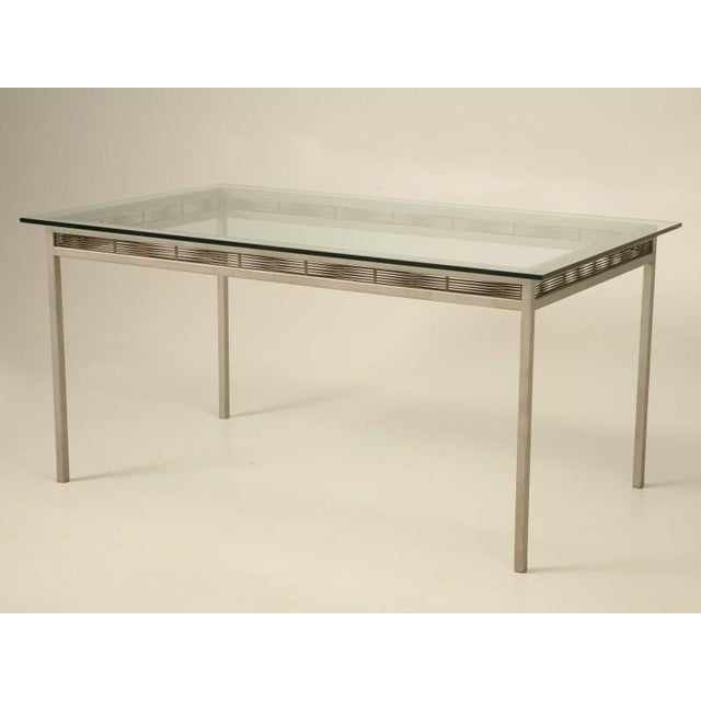 Contemporary Stainless Steel and Glass Indoor or Outdoor Dining Table For Sale - Image 3 of 11
