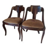 Image of Late 19th Century French Empire Mahogany Slipper Dining Chairs - a Pair For Sale
