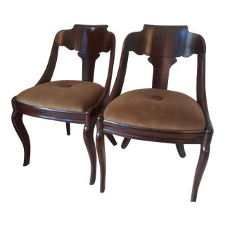 Late 19th Century French Empire Mahogany Slipper Dining Chairs - a Pair For Sale