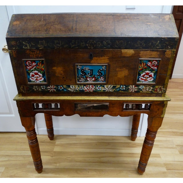 Antique Mexican Hand Painted Wedding Trunk - Image 2 of 5