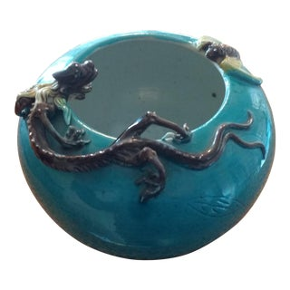 Antique Asian Turquoise Bowl With Embossed Leaf & Applied Dragon and Bee For Sale