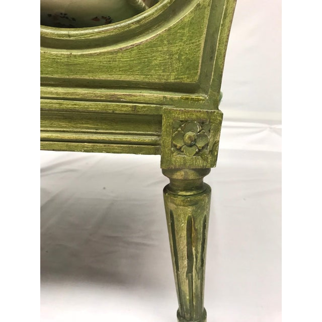 French Style Green-Painted Slipper Chairs - A Pair For Sale - Image 12 of 13