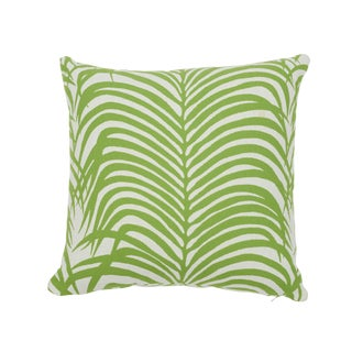 Contemporary Schumacher Zebra Palm Indoor/Outdoor Pillow in Leaf For Sale