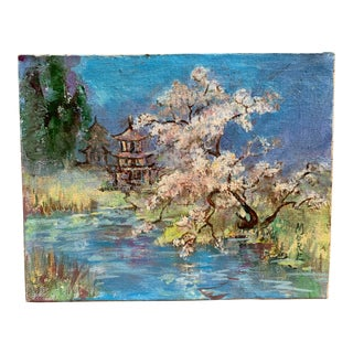 Japanese Garden Cherry Blossoms Oil Painting For Sale