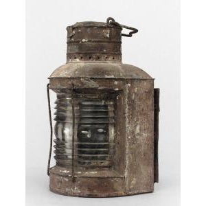 American Country style (19th Cent) iron and glass half round ships embarkment lantern with scroll handle (similar to #015577)