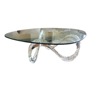 Lucite Infinity Ribbon and Glass Coffee Table For Sale