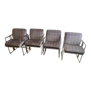 Rare Signed Milo Baughman, Mid Century, Chrome Occasional Chairs by Thayer Coggin- Set of 4 For Sale