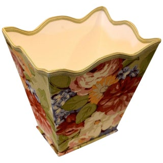 English Traditional Floral Wastebasket For Sale