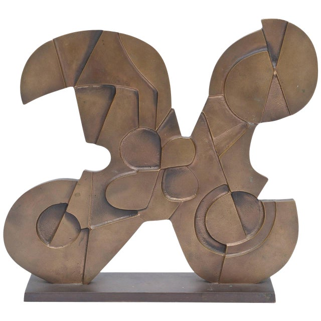 Signed Italian Consagra Abstract, Modernist and Cubist Bronze Sculpture - Image 1 of 10