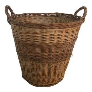 Vintage French Wicker Tall Laundry Basket For Sale