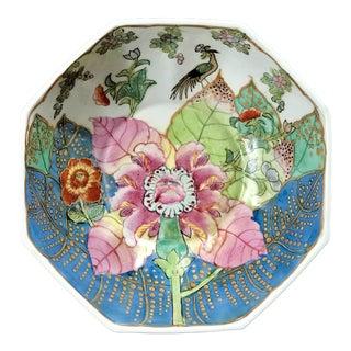 Vintage Chinese Tobacco Leaf Octagonal Porcelain Pedestal Bowl For Sale
