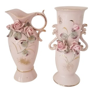 Vintage Japanese Porcelain Hand Painted and Decorated 3 D Vases - Set of 2 For Sale