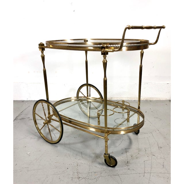 1960s Vintage Maison Jansen Style Brass Bar Cart / Trolley For Sale - Image 5 of 13