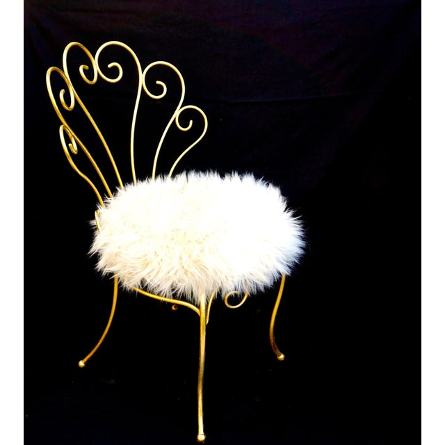 Vintage Hollywood Regency Gold Iron & Faux Fur Vanity Chair For Sale - Image 10 of 10