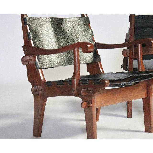 Angel I. Pazmino Pair of Angel Pazmino Rosewood and Leather Sling Armchairs - a Pair For Sale - Image 4 of 10