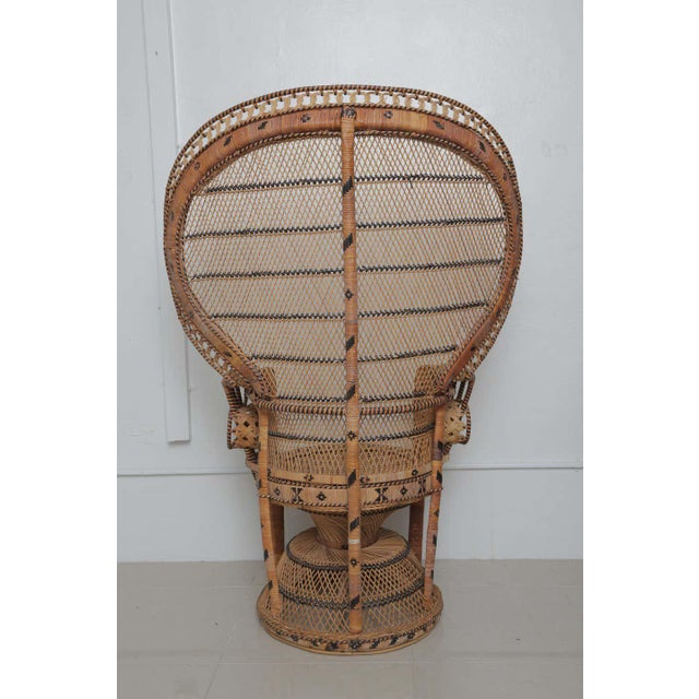 1950s Superb Pair of Peacock Vintage Rattan Chairs For Sale - Image 5 of 6