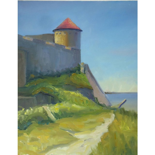 Impressionism Seaside Castle Fortress Impressionist Oil Painting For Sale - Image 3 of 5