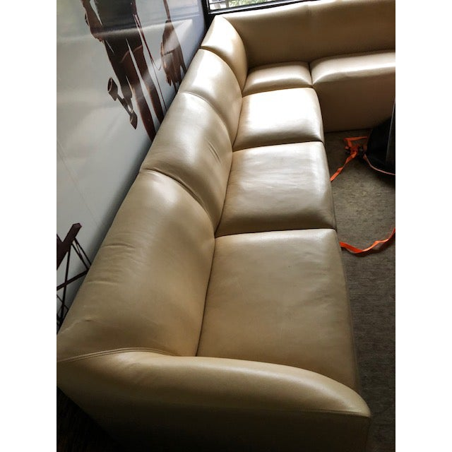"""Dakota Jackson IKO Comfort Sectional Essentials Nude Color #3636 580 SF Leather 124""""w x 94"""" d x 31.75"""" h, 17""""sh (total..."""