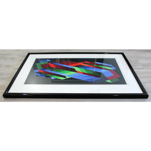 Contemporary Contemporary Framed Op Art Lithograph Vasarely the Door 23/25 1980 For Sale - Image 3 of 6