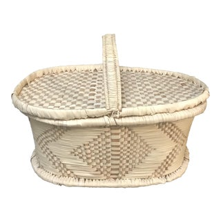 Grass Woven Picnic Basket For Sale