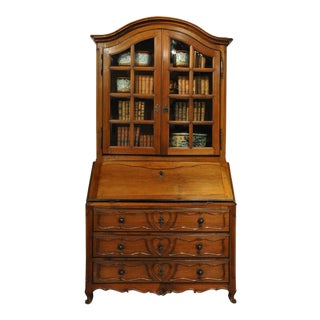 18th Century French Louis XV Carved Walnut Secretary Bookcase